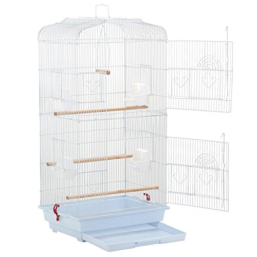 Cockatiel Gravel (Bird Parrot Cage Canary Parakeet Cockatiel LoveBird Finch Bird Cage White New Large Tall)