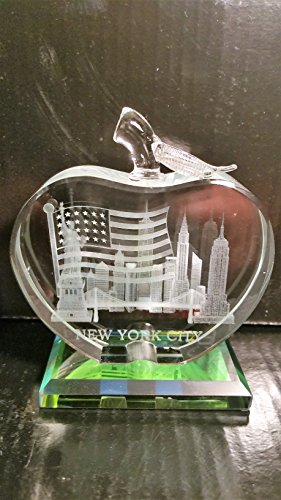 Colorful Apple Shaped 3D Laser Etched New York City with American Flag Glass Crystal Paperweight with base, NYC Souvenirs