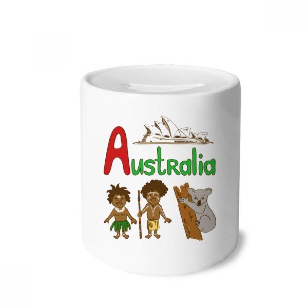 DIYthinker Australie Symbole National Haut-Lieu Touristique Motif Tirelire en céramique banques d'épargne-Monnaie Enfants Adultes 3,5 Pouces de Hauteur, 3,1 Pouces de diamètre Multicolore