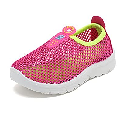 CIOR Toddler Kids Water Shoes Breathable Mesh Running Sneakers Sandals for Boys Girls Running Pool Beach Pink Size: 1 Little Kid