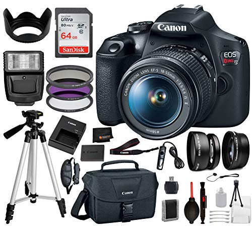 Canon EOS Rebel T7 DSLR Camera with 18-55mm Lens – 2727C002 – US Warranty – 17PC Professional Bundle Package Deal -SanDisk 64gb SD Card + Canon Shoulder Bag + More