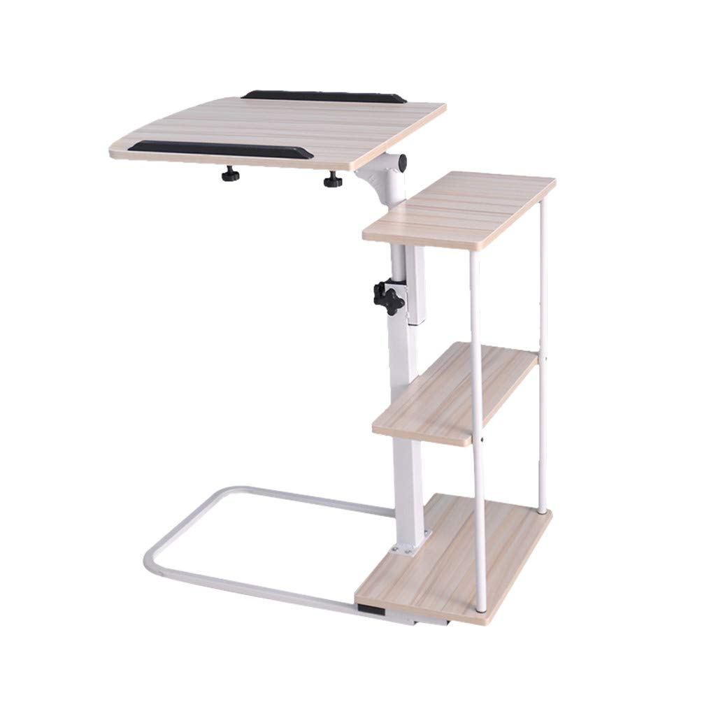 C-Easy Simple Laptop Table Mobile Lazy Bedside Table, Multifunctional Foldable Side Tables Adjustable Computer Stand Portable Tray Side Table Studying Desk. White and Black (White) by C-Easy