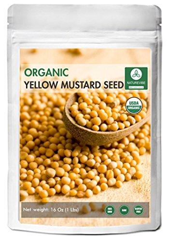 Organic Yellow Mustard Seeds (1lb) by Naturevibe Botanicals, Gluten-Free & Non-GMO (16 ounces) Organic Vegan Mustard