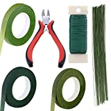 Supla Floral Arrangement Kit Floral Tools Wire Cutter Stem Wire Floral Wire 26 Gauge and 22 Gauge Wire Green Floral Tapes for Bouquet Stem Wrap Florist