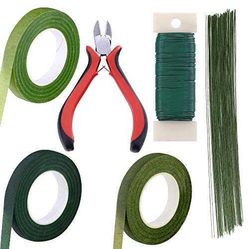 Supla Floral Arrangement Kit Floral Tools Wire Cutter Stem Wire Floral Wire 26 Gauge and 22 Gauge Wire Green Floral Tapes for Bouquet Stem Wrap Florist -