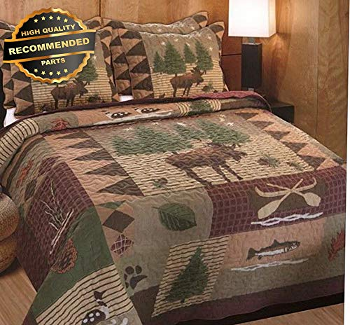 Style Bedspread Ranch (Gatton Premium New Lodge Decor King Comforter Set Quilt Bedspread Rustic Moose Log Cabin Bedding | Style Collection Comforter-311012999)