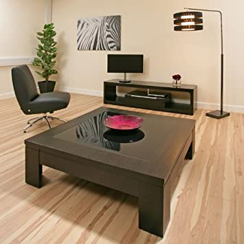 Avant Garde Coffee Table Large Square Black Oak Black Glass Modern