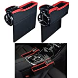 Threeking Car Seat Gap Filler and Pocket Organizer Premium PU Leather Car Seat Storage Box Multi-function Organizer with Water Cup Holder Coin Pocket Car Interior Accessories(2 Pcs,Black-Red)