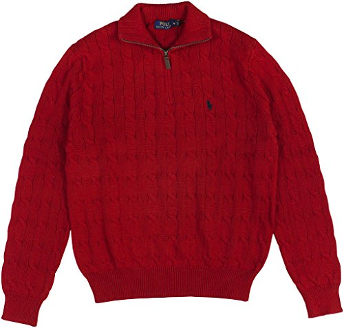 Polo Ralph Lauren Men's Cable-Knit Mock Neck Sweater Medium Martin Red (Cable Half Zip Sweater)
