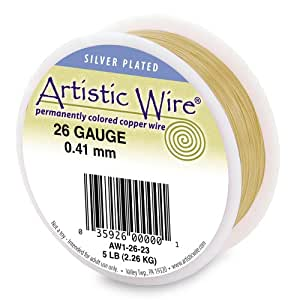 Artistic Wire 28-Gauge Silver Plated Gold Wire, 1/4-Pound