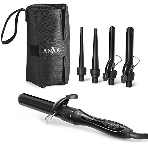 [5 in 1] Curling Iron and Wand Set with 5 Interchangeable Barrels, Anjou Hair Curling Wands with Tourmaline Ceramic Coating (Adjustable Temperature 250°F - 410°F, Heat Resistant Glove & Travel (Wand Set)