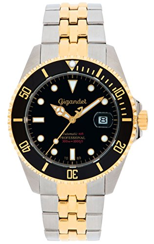 Gigandet Men's Automatic Diver Watch Sea Ground Analog Stainless Steel 30atm Two-Tone Black Gold G2-016