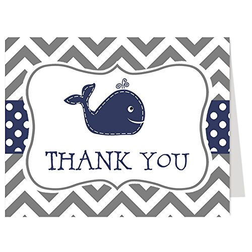 whale-thank-you-cards-nautical-baby-shower-birthday-sprinkle-gray-navy-little-squirt-blue-50-printed