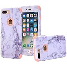 iPhone 7 Plus case, NOKEA [Marble Pattern] Three Layer Hybrid Heavy Duty Shockproof Protective Bumper Cover Soft Silicone Combo Hard PC Case for iPhone 7 Plus (Rose Gold)