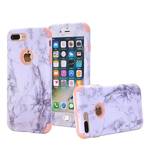 iPhone 7 Plus case, NOKEA [Marble Pattern] Three Layer Hybrid Heavy Duty Shockproof Protective Bumper Cover Soft Silicone Combo Hard PC Case for iPhone 7 Plus (Rose Gold) (Iphone 4 Hybrid 3 Piece Case)