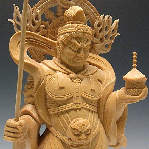 桧 毘沙門天像 32cm 木彫り 仏像