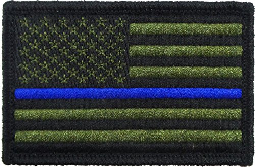 USA American Thin Blue Line Police Flag Tactical Velcro Fully Embroidered Morale Tags Patch (Green and Black)