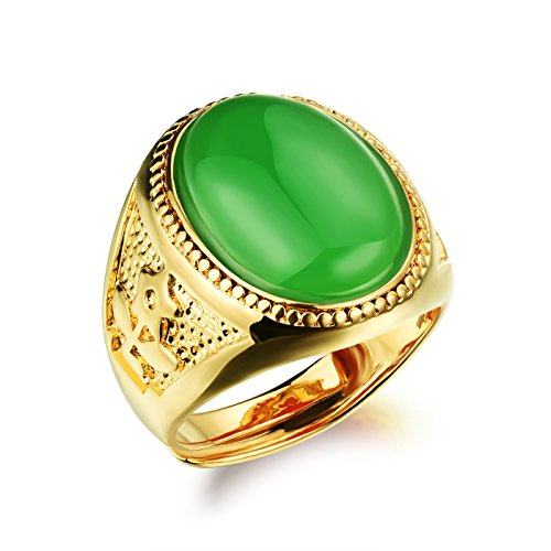 OPK Jewelry Vintage Red/Black/Green Oval Agate 18k Gold Plated Mens Ring Luxury Mens Gold Jewelry, Size - Ring 18k Dad