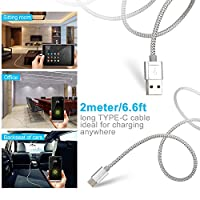USB Type C Cable, Snowkids USB C Cable (USB 3.0)(2-PACK 6.6ft) Nylon Braided Fast Chargerfor Samsung Galaxy Note 8, LG V30 G6 G5 V20,Nintendo Switch,Samsung Galaxy S8 Plus,Pixel 2,Macbook