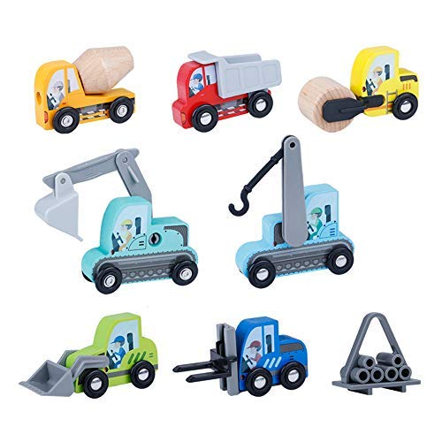 - umu New Toy Cars Wooden Construction Site Vehicles for Kids