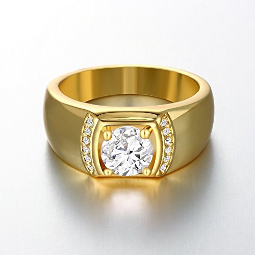 YiLinger Exquisite Men Jewelry Gold Plated Classic Cubic Zirconia Wide Band Rings