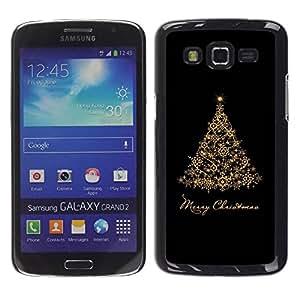 rígido protector delgado Shell Prima Delgada Casa Carcasa Funda Case Bandera Cover Armor para Samsung Galaxy Grand 2 SM-G7102 SM-G7105 /Christmas Holidays Black Gold Tree/ STRONG