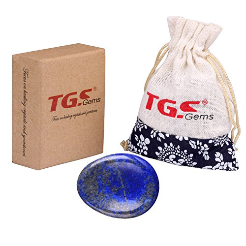 TGS Gems® Lapis Lazuli Carved Thumb Irish Worry Stone Healing Crystal Free Pouch Sold By 1pcs