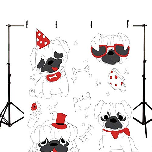 Pug Stylish Backdrop,Dogs in Various States Sad Happy Cool Excited Dog Bone Dotted Mug Caricature Style Decorative for Photography,98.4