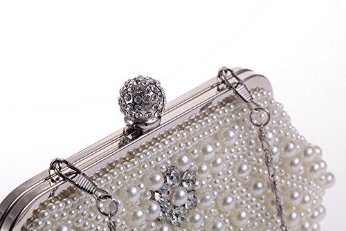 Pearl Handmade Clutch CL1455 Evening Womens Faux Rhinestone Clutch Fashion a Clasp Purse Hoxis Beaded q6tS5w