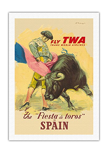 The La Fiesta del Toros (The Festival of the Bulls) in Spain - Trans World Airways Fly TWA - Matador Bullfighting - Vintage World Travel Poster by Juan Reus c.1950s - Fine Art Print - 27in x 40in by Pacifica Island Art