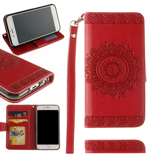 Valentoria Cyber Deals Monday Deals Sales 2018-For iPhone 8Plus/7Plus Wallet Case, Mandragora Flower Premium Vintage Emboss Leather Wallet Pouch Case with Wrist Strap for iPhone 8Plus 5.5(Red)