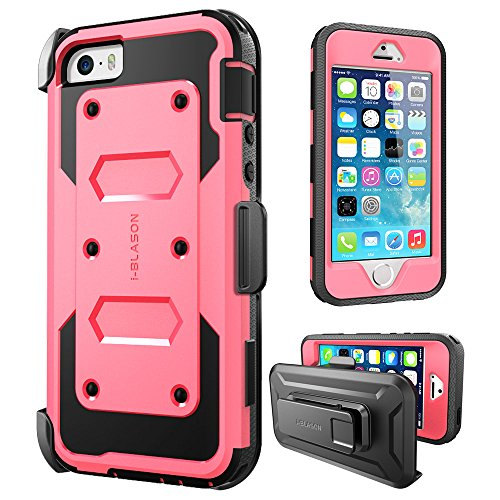 - iPhone SE Case, [Armorbox] i-Blason Built in [Screen Protector] [Full Body] [Heavy Duty Protection ]/Holster/Bumper Case for Apple iPhone SE 2016 Release/Compatible with iPhone 5S/5 (Pink)