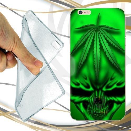 Caseone linea top CUSTODIA COVER CASE MARIJUANA SKULL GREEN PER IPHONE 7