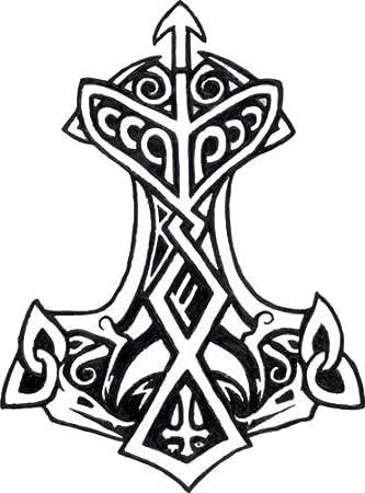 Wickedgoodz Thors Hammer Rune Vinyl Decal Viking Bumper Sticker Thor Rune Norse Gift