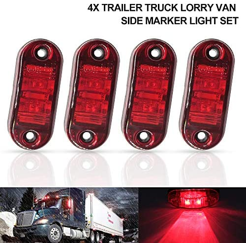 10Pcs Red 9LED Side Marker Indicator Lights Trailer Truck Lorry Position Lamps 3.9 Clearance Lights Warning Light for Vehicle Boat Trailer 12-24V