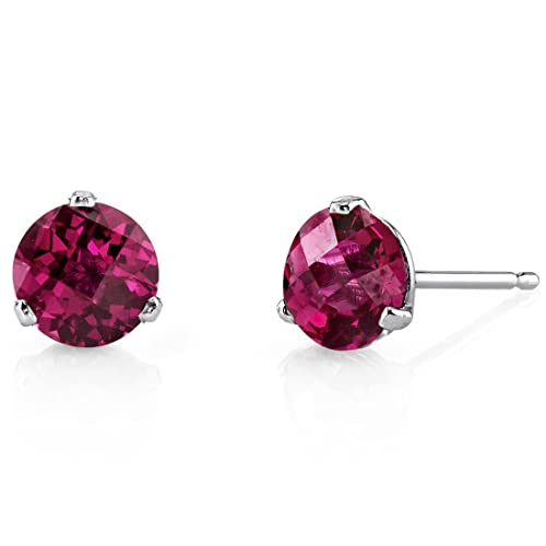 14 Kt White Gold Martini Style Round Cut 2.25 Carats Created Ruby Stud Earrings