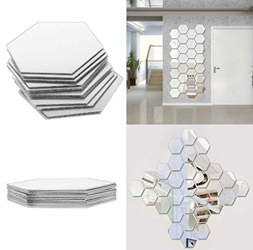 Yusylvia 1set of 12PCS Hexagon Decorative 3D Acrylic Mirror Wall Stickers Living Room Bedroom Home Decor Room Decoration - Hexagon Large Mirror