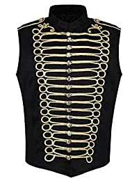 Ro Rox Men's Punk Military Drummer Sleeveless Parade Jacket