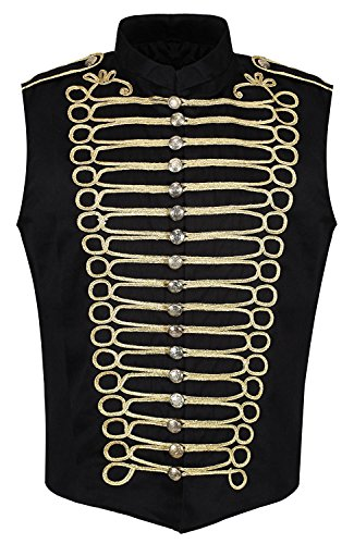 Ro Rox Men's Black Gold Punk Military Drummer Sleeveless Parade Jacket - (Men's XL) ()