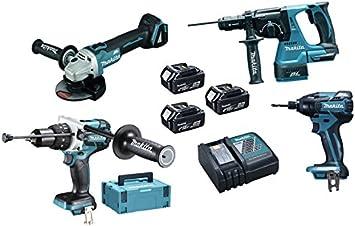 Makita DLX4050TJ Máquinas Pack 4 + 3 bateria 18V 5Ah Li-ion + 2 ...