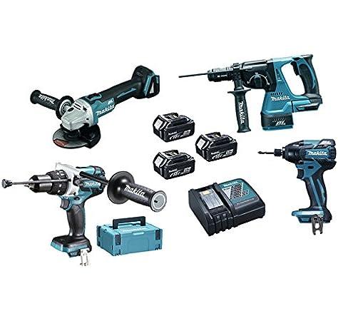 Makita DLX4050TJ Máquinas Pack 4 + 3 bateria 18V 5Ah Li-ion + 2 maletin Makpac: Amazon.es: Bricolaje y herramientas