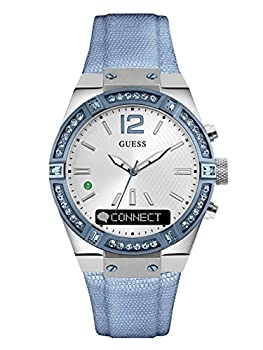 Guess Women's Connect Smartwatch With Amazon Alexa & Genuine Leather Strap Buckle - Ios & Android Compatible - Blue 0