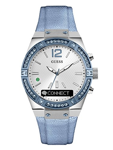 GUESS Women's CONNECT Smartwatch with Amazon Alexa and Genuine Leather Strap Buckle - iOS and Android Compatible -  Blue by GUESS