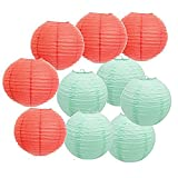 10 Piece Mixed 12-Inch 8-Inch Coral Mint Green Paper Craft Ball Hanging Lantern for Summer Wedding Bridal Shower Birthday Baby Shower Centerpieces Decoration