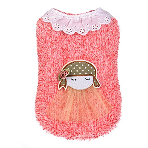 Kim88 2017 Dog Clothes Pet Puppy Little Girl With Sweater Charm Apparel (M, Red)