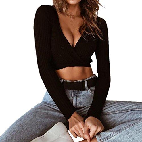 Rambling 2018 New Womens Sexy Deep V Neck Long Sleeve Solid Bandage Crop Tops Short Blouse Shirt