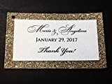 Wedding Thank You Favor Tags Gold Glitter Backed Set of 25 - Bridal Baby Shower