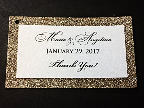 Wedding Thank You Favor Tags Gold Glitter Backed Set of 25 - Bridal Baby Shower by Soiree Custom Paper Co
