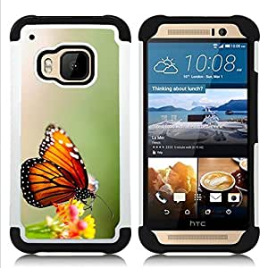 For HTC ONE M9 - wings butterfly flower green Dual Layer caso de Shell HUELGA Impacto pata de cabra con im??genes gr??ficas Steam - Funny Shop -