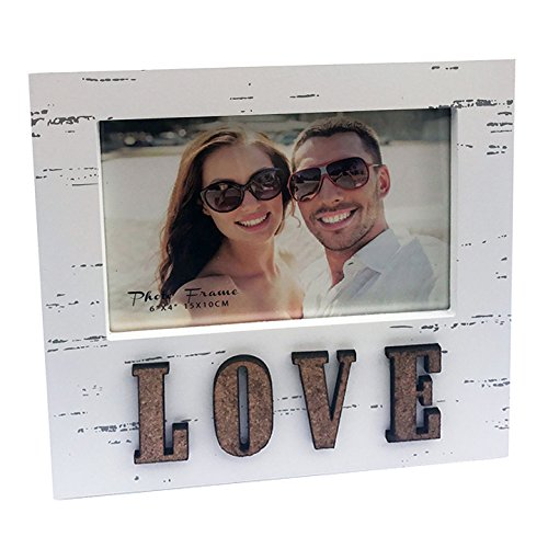 "(4x6"" Distressed Wooden Photo Frame in Off White with Word LOVE in Corc, Contemporary Shabby Chic Style. Perfect for Mother's Day, Birthdays, Anniversaries or to Say I LOVE YOU! Picture)"